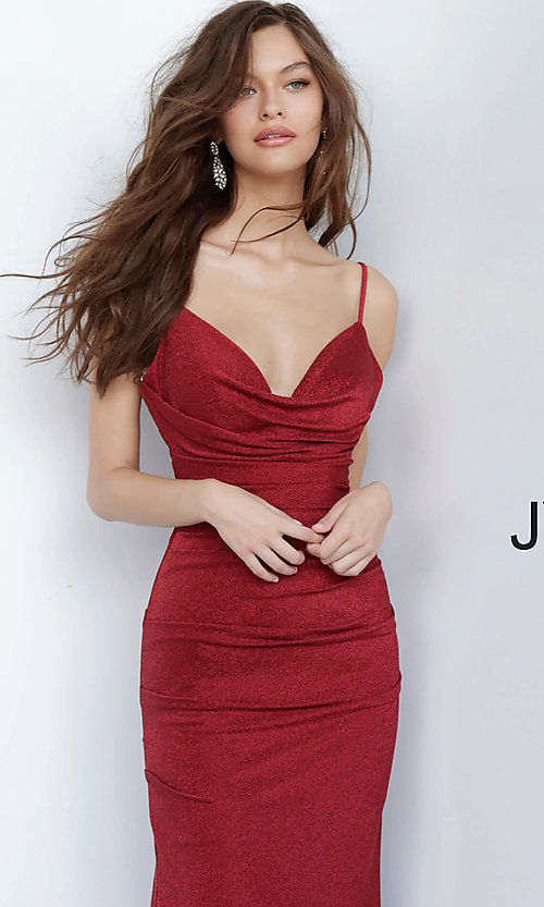 Image of JVN by Jovani cowl v-neck formal dress in burgundy. Style: JO-JVN-JVN00967 Detail Image 1