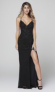 Image of open-back long Primavera beaded formal prom dress. Style: PV-3404 Front Image