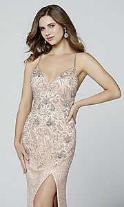Image of open-back long Primavera beaded formal prom dress. Style: PV-3404 Detail Image 4