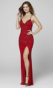 Image of open-back long Primavera beaded formal prom dress. Style: PV-3404 Detail Image 5