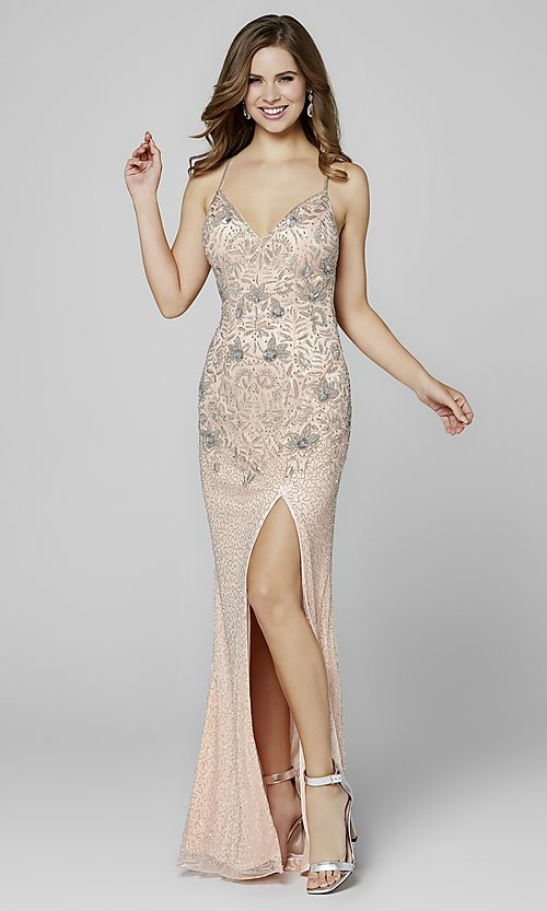 Image of open-back long Primavera beaded formal prom dress. Style: PV-3404 Detail Image 2