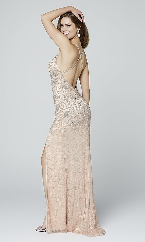 Image of open-back long Primavera beaded formal prom dress. Style: PV-3404 Detail Image 3