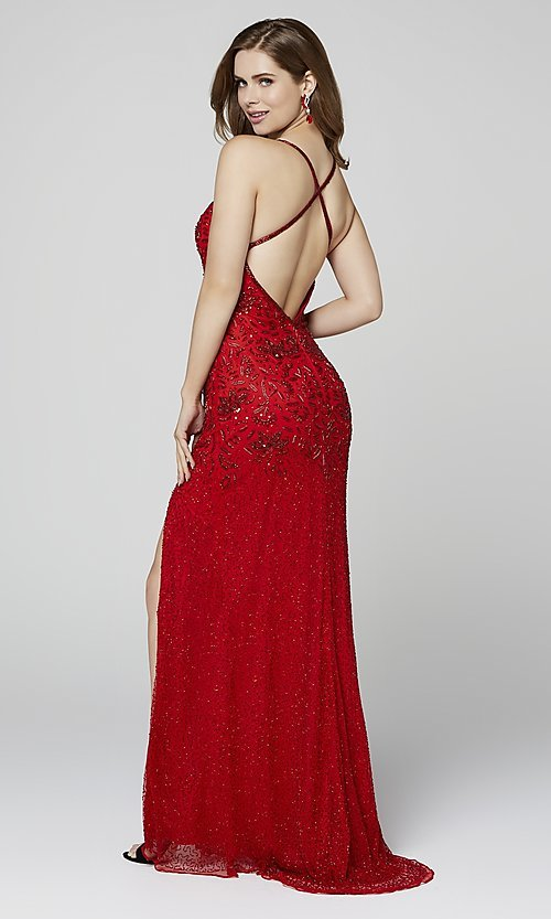 Image of open-back long Primavera beaded formal prom dress. Style: PV-3404 Detail Image 6