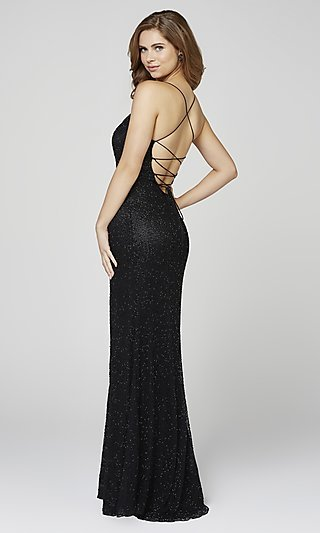 Scoop-Neck Beaded Formal Dress with an Open Back