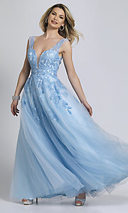Image of ice blue formal prom dress by Dave and Johnny. Style: DJ-A8600 Front Image