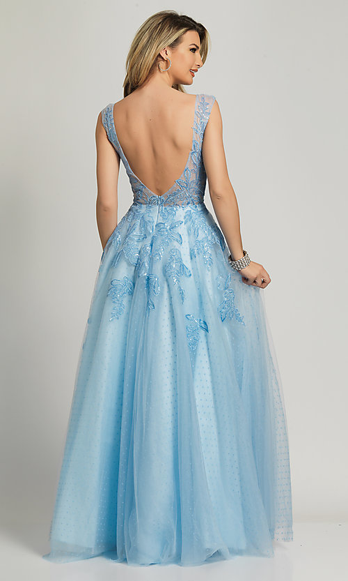 Image of ice blue formal prom dress by Dave and Johnny. Style: DJ-A8600 Back Image