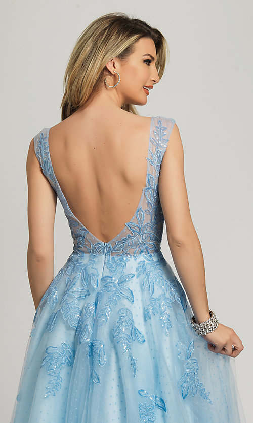 Image of ice blue formal prom dress by Dave and Johnny. Style: DJ-A8600 Detail Image 2