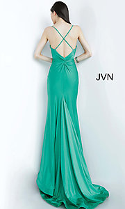 Image of JVN by Jovani hunter green long formal prom dress. Style: JO-JVN-JVN00904 Detail Image 4