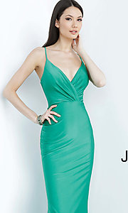 Image of JVN by Jovani hunter green long formal prom dress. Style: JO-JVN-JVN00904 Detail Image 1
