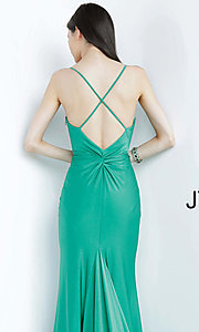 Image of JVN by Jovani hunter green long formal prom dress. Style: JO-JVN-JVN00904 Detail Image 2