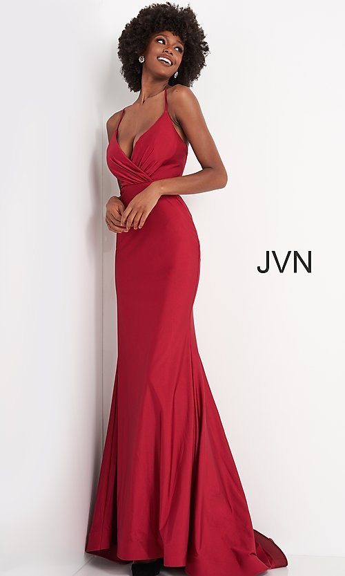 Image of JVN by Jovani hunter green long formal prom dress. Style: JO-JVN-JVN00904 Front Image