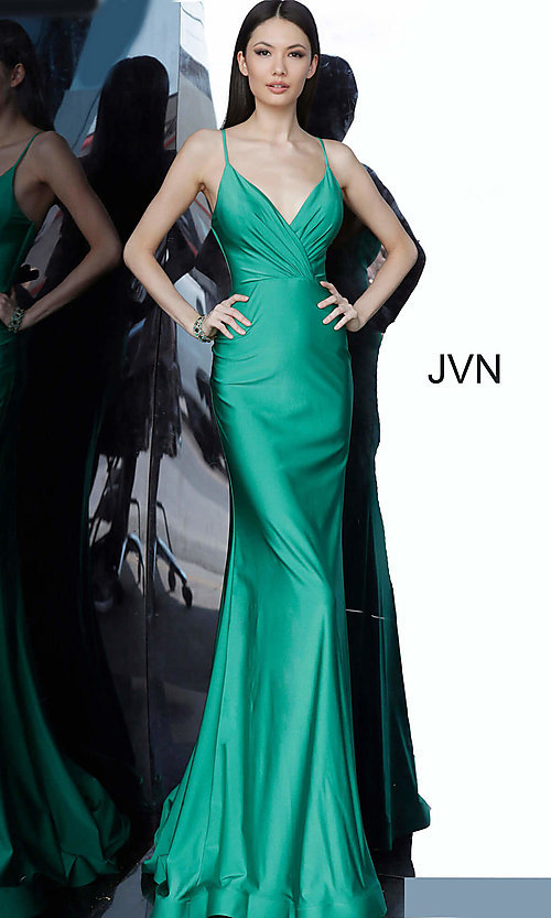Image of JVN by Jovani hunter green long formal prom dress. Style: JO-JVN-JVN00904 Detail Image 3