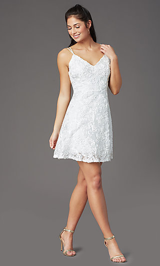 Short Graduation Dress in White