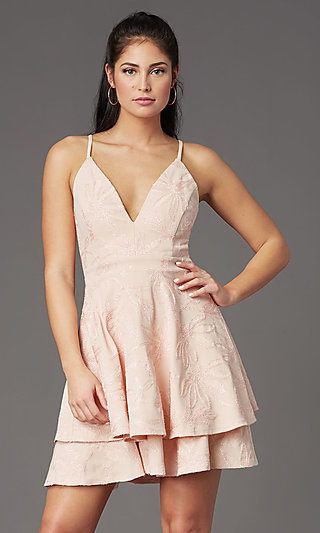 Graduation Party Embroidered Short V-Neck Dress