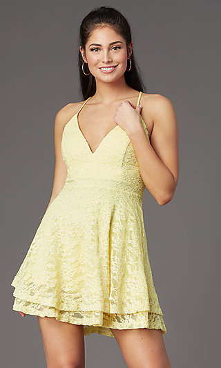 Lace V-Neck Graduation Party Short Dress