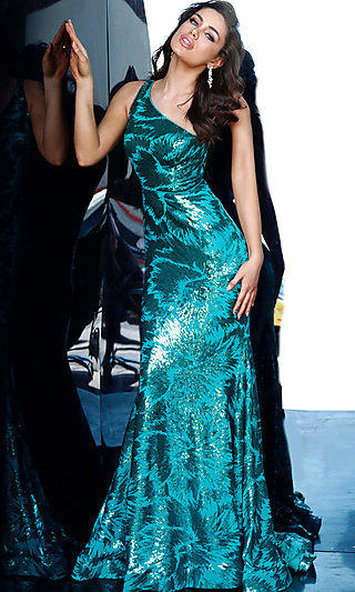 Long Mermaid-Style Sequin One-Shoulder Formal Dress