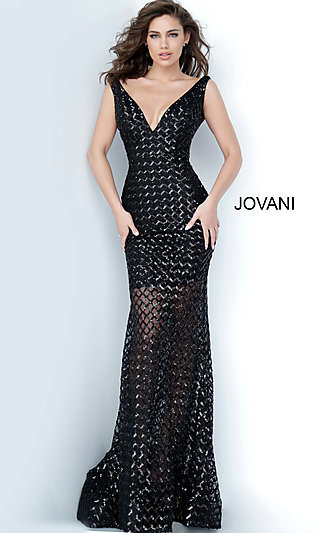 Jovani Sequin Formal Dress with an Illusion Skirt