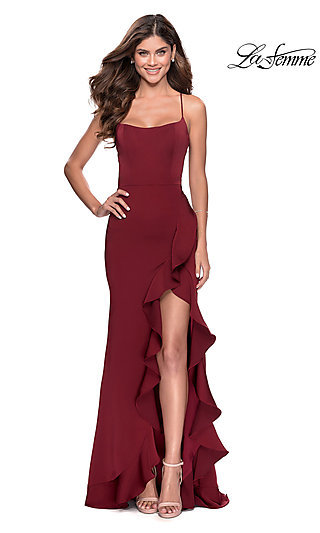 Long Open-Back Jersey Formal Dress by La Femme