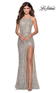 Image of high-neck La Femme sequin formal dress with slit. Style: LF-28529 Detail Image 1