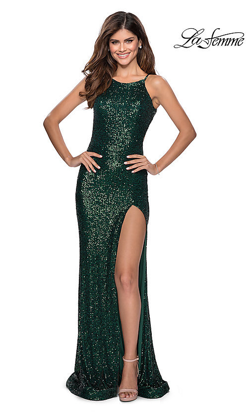 Image of high-neck La Femme sequin formal dress with slit. Style: LF-28529 Detail Image 6