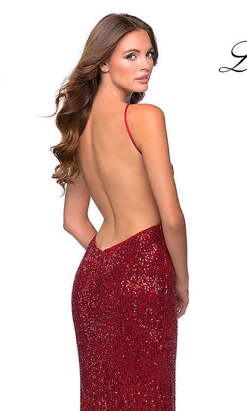 Image of high-neck La Femme sequin formal dress with slit. Style: LF-28529 Detail Image 4