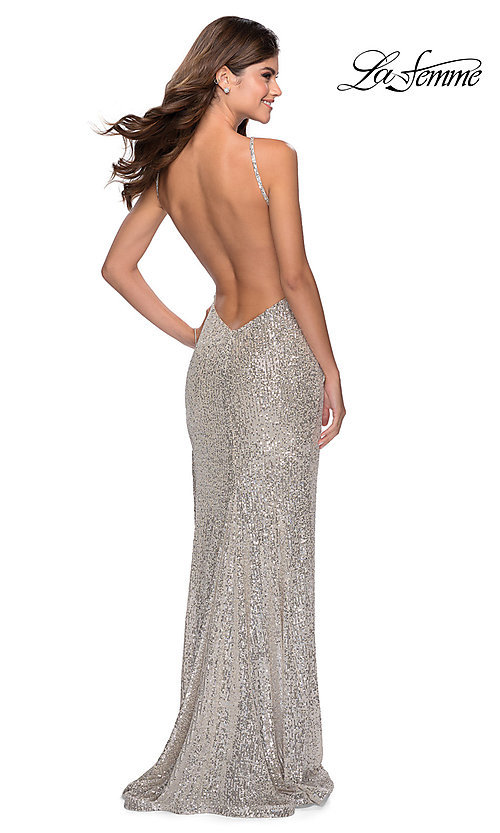 Image of high-neck La Femme sequin formal dress with slit. Style: LF-28529 Detail Image 2