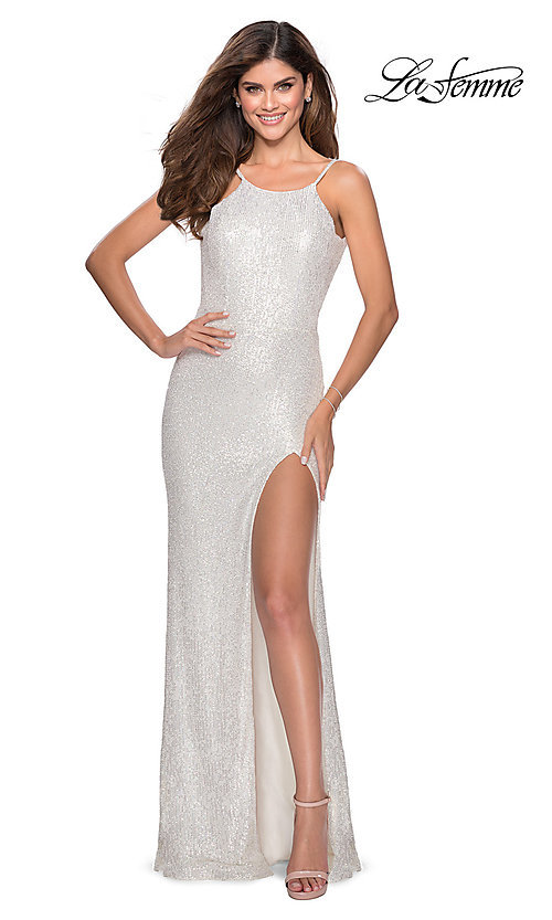Image of high-neck La Femme sequin formal dress with slit. Style: LF-28529 Detail Image 8