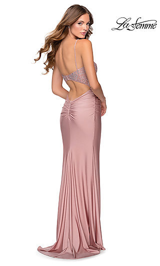 Long Fitted Formal Dress with a Back Cut-Out