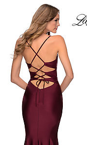 Image of long La Femme jersey prom dress with lace-up back. Style: LF-28574 Detail Image 2