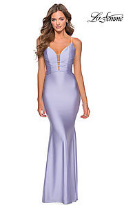 Image of long La Femme jersey prom dress with lace-up back. Style: LF-28574 Detail Image 7