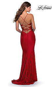 Image of long La Femme jersey prom dress with lace-up back. Style: LF-28574 Detail Image 4