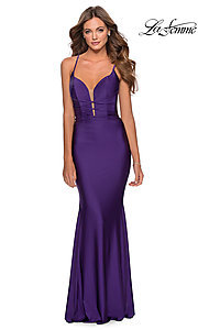 Image of long La Femme jersey prom dress with lace-up back. Style: LF-28574 Detail Image 8