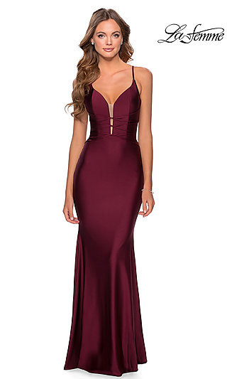 Long La Femme Jersey Prom Dress with Lace-Up Back