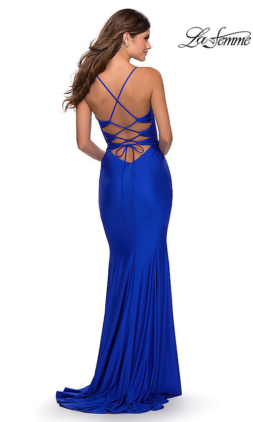 Image of long La Femme jersey prom dress with lace-up back. Style: LF-28574 Detail Image 6