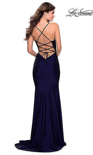 Long La Femme Formal Prom Dress with Lace-Up Back