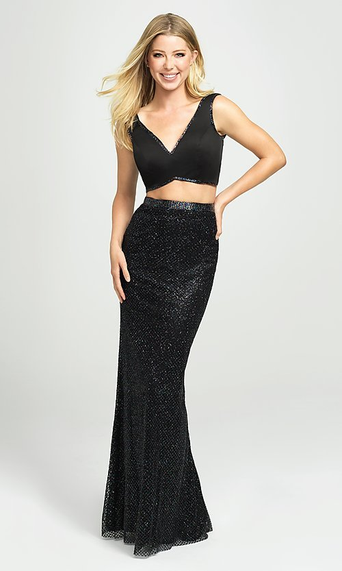 Image of Madison James sparkly long two-piece prom dress. Style: NM-19-101 Front Image