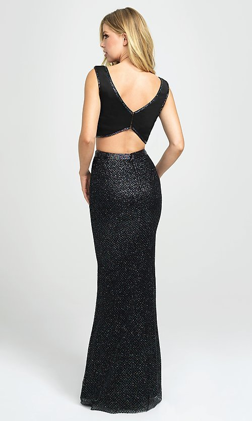 Image of Madison James sparkly long two-piece prom dress. Style: NM-19-101 Back Image