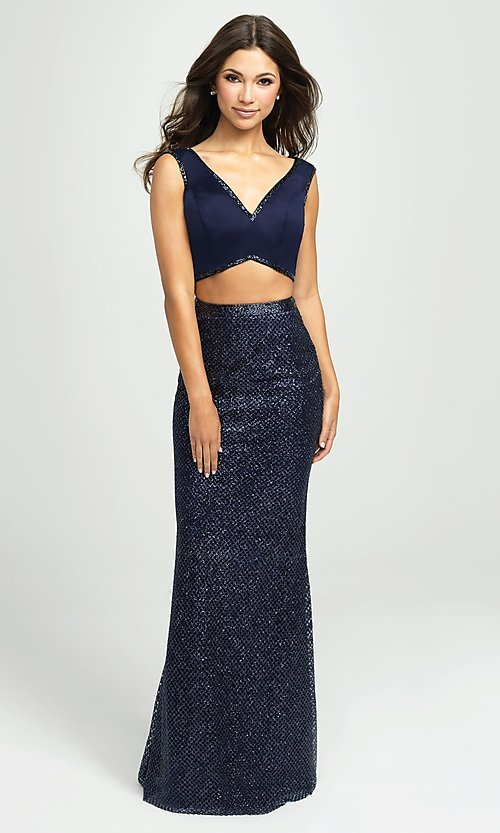 Image of Madison James sparkly long two-piece prom dress. Style: NM-19-101 Detail Image 1