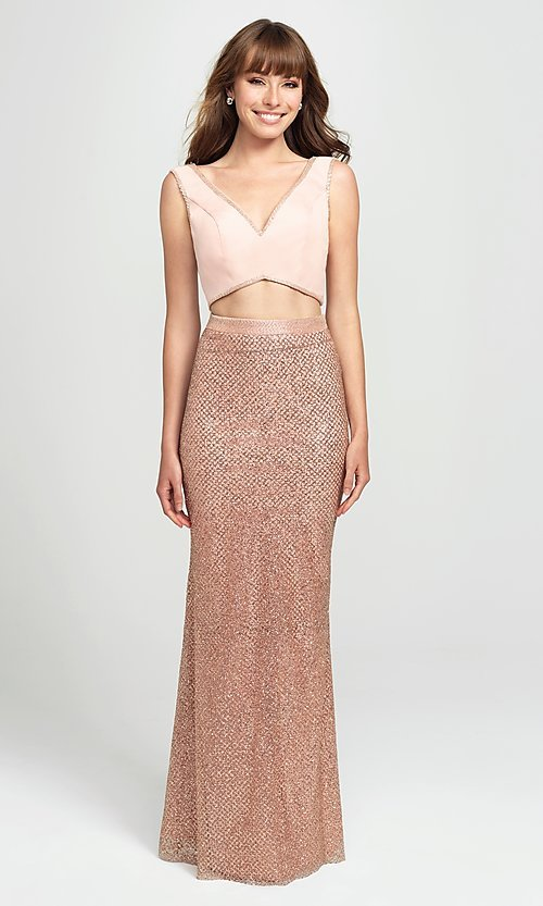 Image of Madison James sparkly long two-piece prom dress. Style: NM-19-101 Detail Image 2