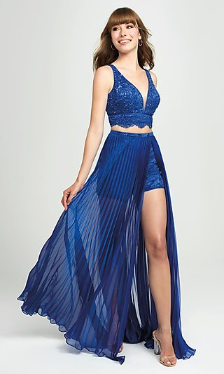 Lace-Top Pleated Two-Piece Prom Dress with Shorts