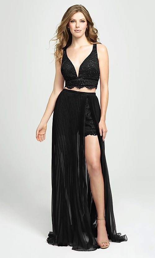 Image of lace-top pleated two-piece prom dress with shorts. Style: NM-19-103 Detail Image 1