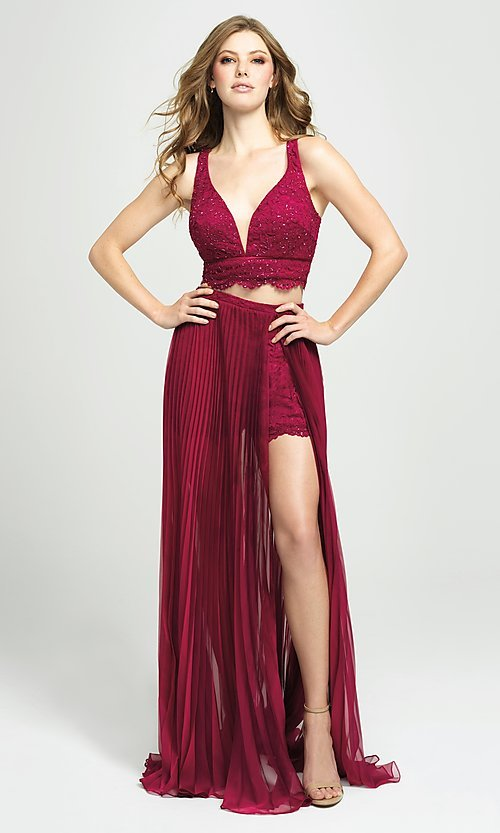 Image of lace-top pleated two-piece prom dress with shorts. Style: NM-19-103 Front Image