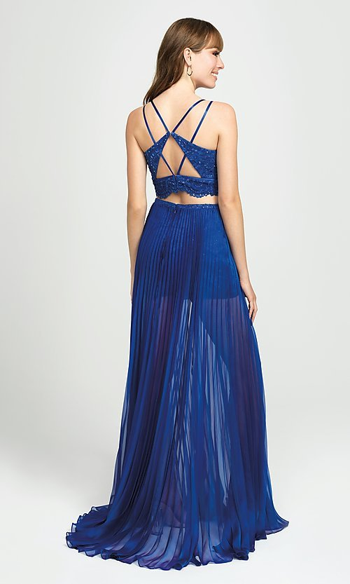 Image of lace-top pleated two-piece prom dress with shorts. Style: NM-19-103 Back Image