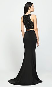 Image of two-piece jersey prom dress by Madison James. Style: NM-19-106 Back Image