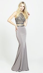 Image of two-piece jersey prom dress by Madison James. Style: NM-19-106 Front Image