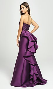 Image of strapless mermaid long prom dress with back ruffle. Style: NM-19-118 Back Image