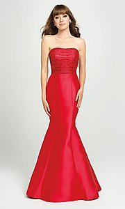 Image of strapless mermaid long prom dress with back ruffle. Style: NM-19-118 Front Image