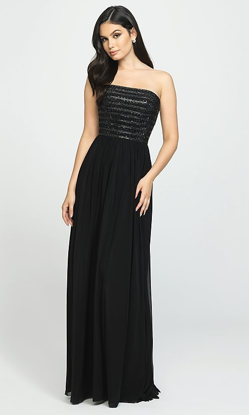 Image of long strapless chiffon prom dress with beading. Style: NM-19-120 Front Image