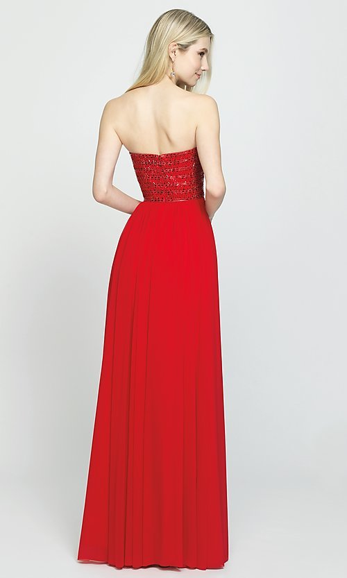 Image of long strapless chiffon prom dress with beading. Style: NM-19-120 Back Image