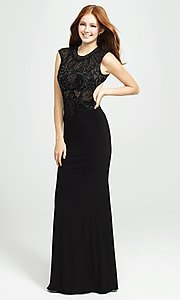 Image of embellished-illusion-bodice long prom dress. Style: NM-19-121 Detail Image 1